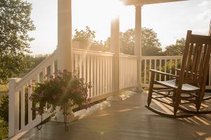 Farmhouse Porch at Sunset