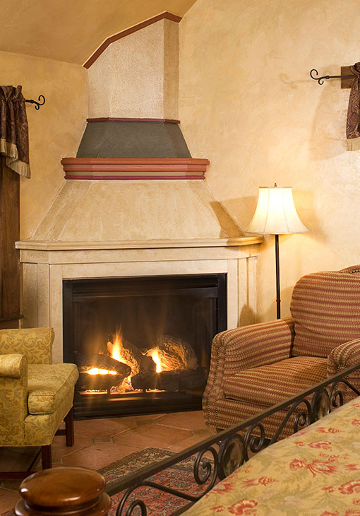 Cozy corner fireplace and chairs