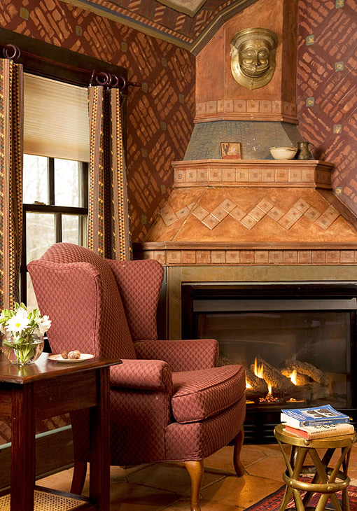 Fireplace in West Virginia cottage