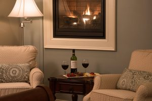 Sitting area with wine