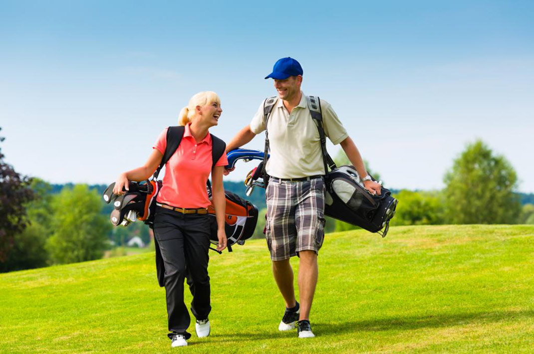 Couple golfing in West Virginia