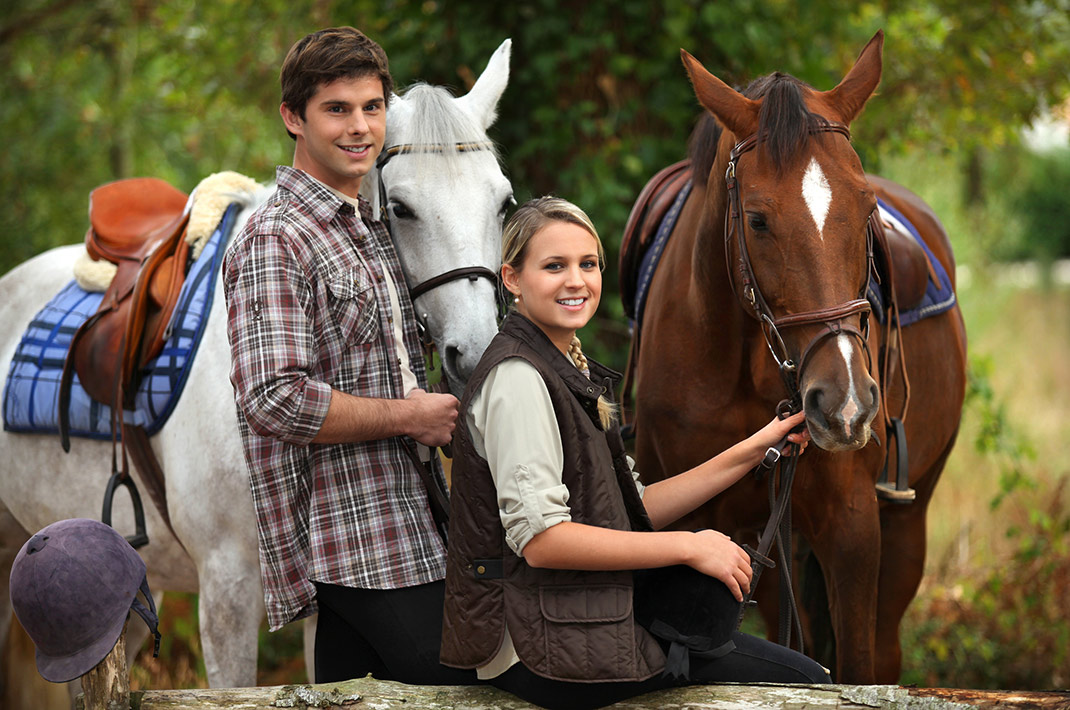 Couple about to horseback ride in WV