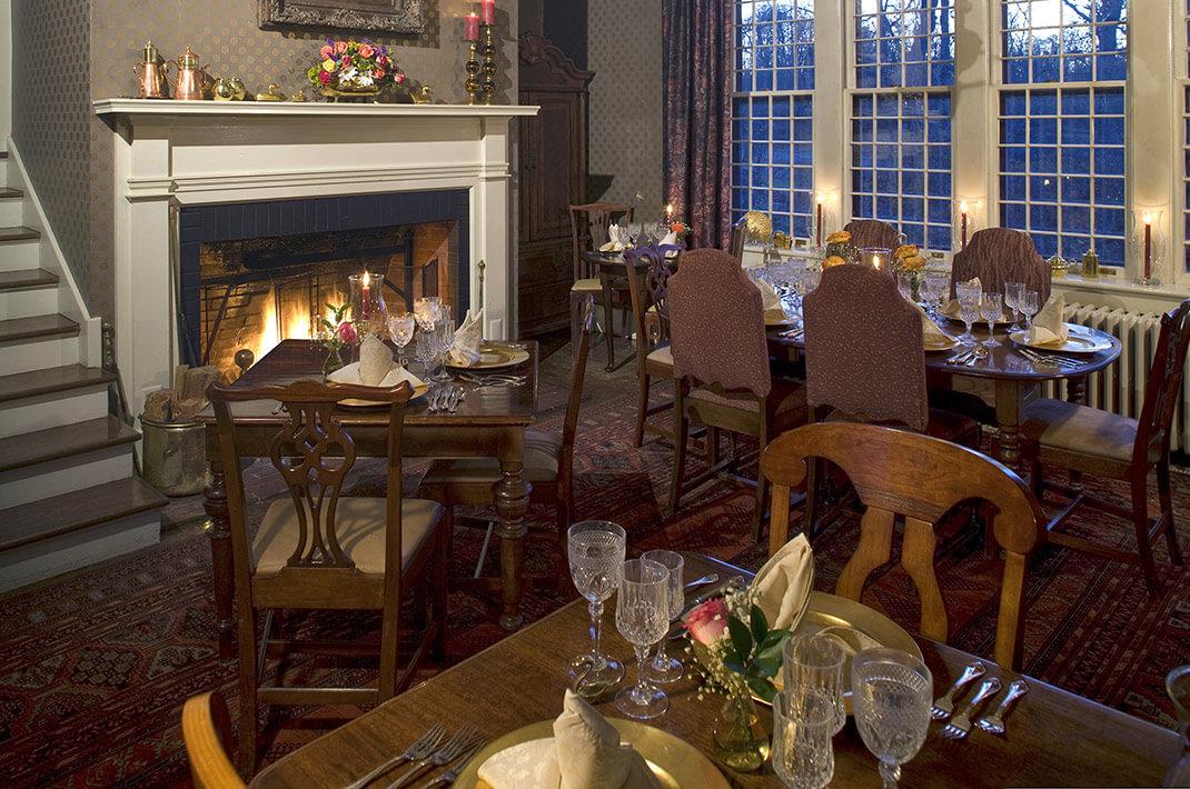Romantic fireplace dining