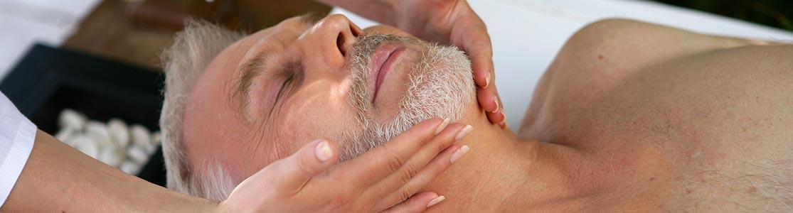 Man enjoying facial at our spa in WV