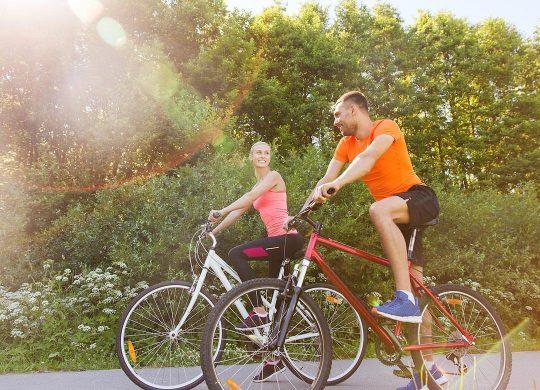 Couple biking