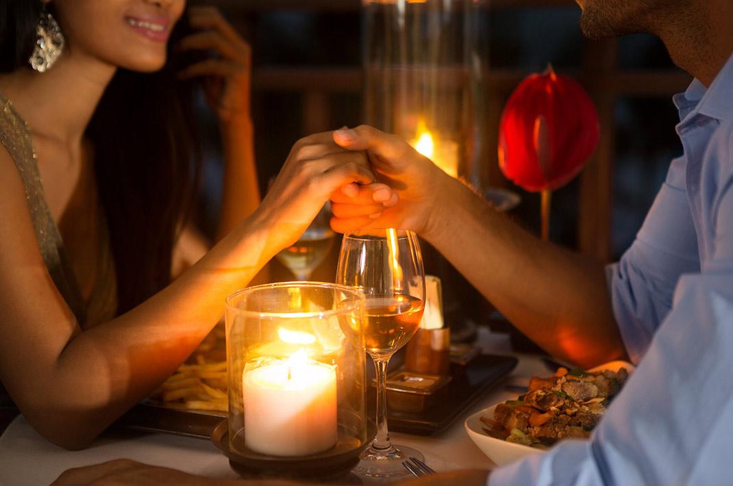 Couple enjoying romantic dinner in WV