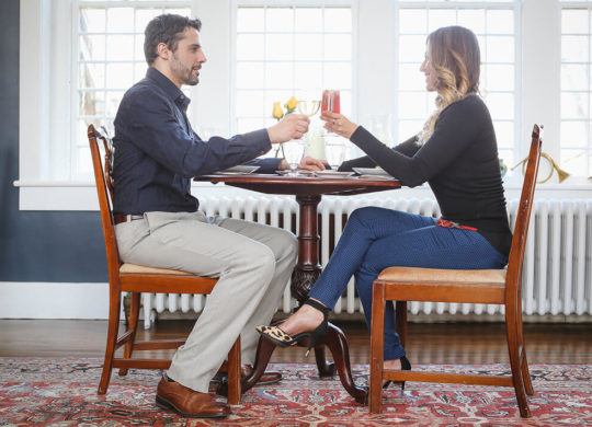Toasting to a romantic meal