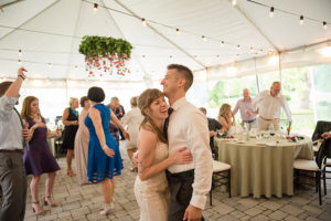 Bride and groom dancing at their WV wedding reception