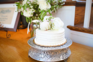 Small white wedding cake for a Hillbrook elopement