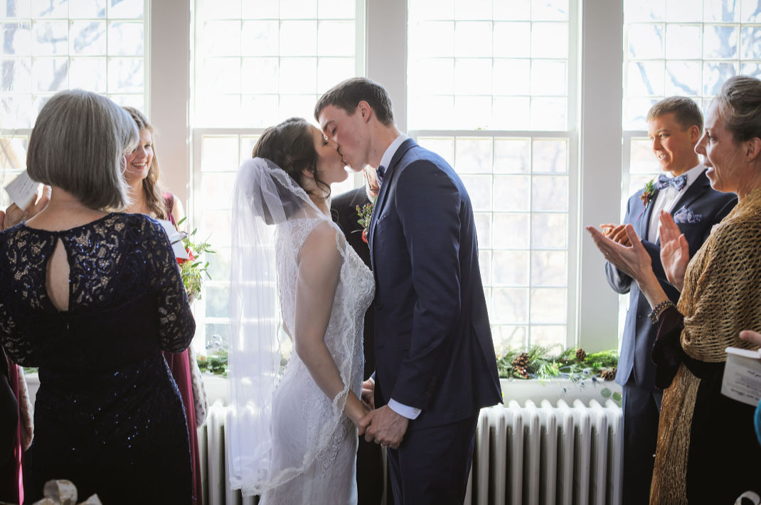 Couple kissing at our wedding venue in west virginia