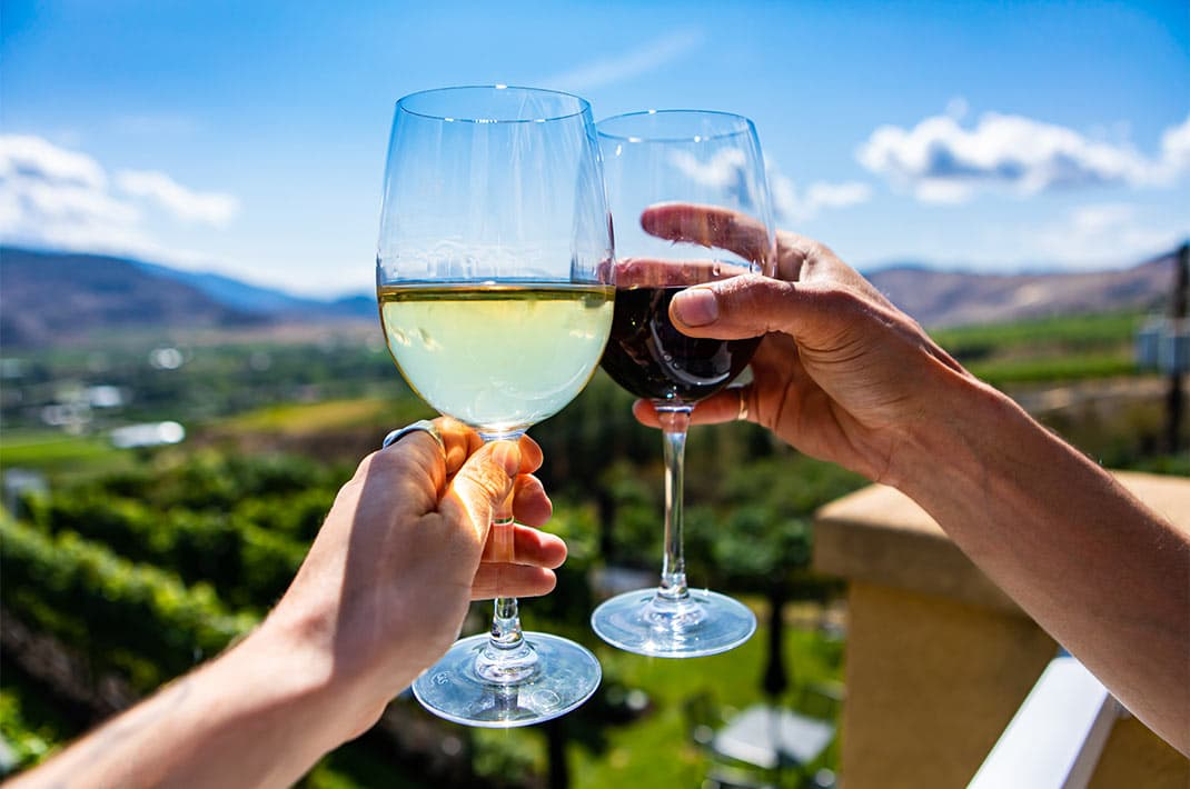 Hands cheers with red and white wine at Hillbrook Inn & Spa