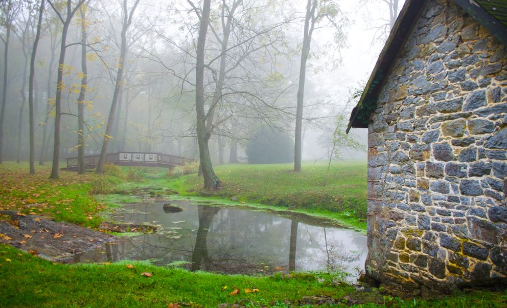 West Virginia Bed and Breakfast Pond with Mist Over