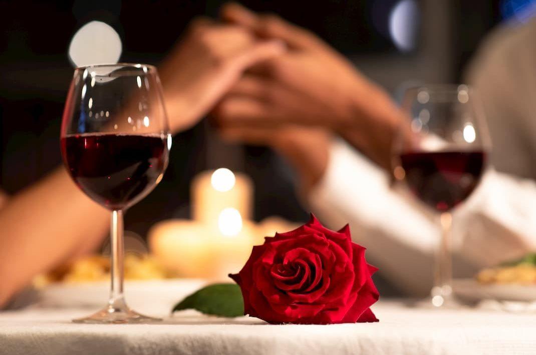 Couple having a romantic wine dinner in WV